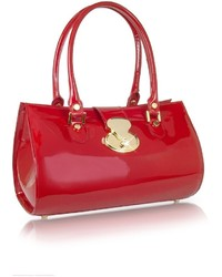 Crystal buckle patent leather barrel bag medium 350993