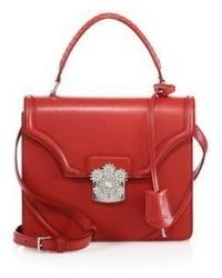 Alexander McQueen Floral Embellished Leather Top Handle Satchel