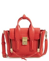 Mini pashli leather satchel red medium 351018