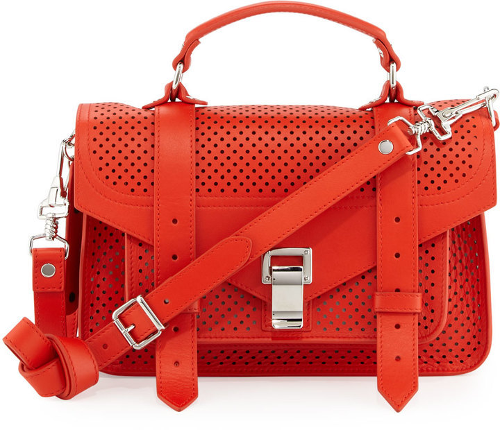 Proenza Schouler Ps1 Tiny Perforated Leather Satchel Bag Fire Red