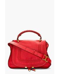 Red grained leather marcie medium satchel medium 40841