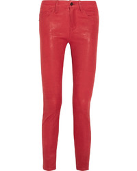 Red Leather Skinny Pants