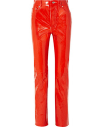 Helmut Lang Patent Leather Straight Leg Pants