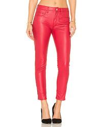 Weslin Grant Vegan Leather High Rise Zip Skinny In Red