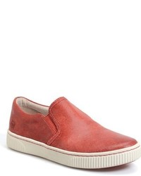 Red Leather Slip-on Sneakers