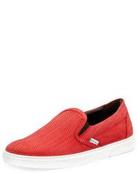 Jimmy Choo Grove Woven Leather Slip On Sneakers