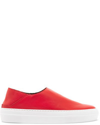 Tibi Charlie Leather Slip On Sneakers Red