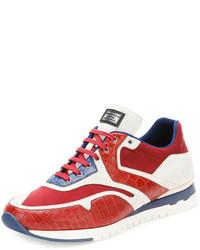 Stefano Ricci Croc Leather Sport Sneaker Red