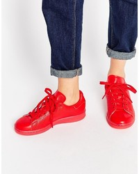 Women's Red Leather Sneakers from Asos