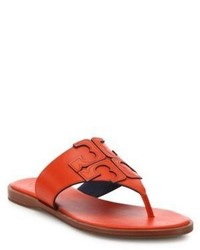 Tory Burch Jamie Leather Logo Thong Sandals