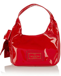 Valentino Bow Embellished Faux Patent Leather Shoulder Tote