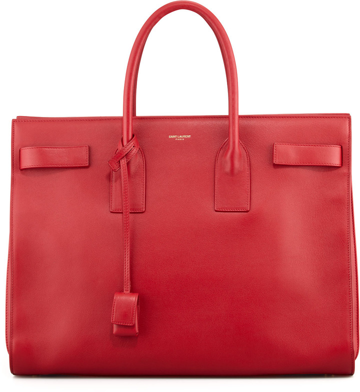 Classic Sac De Jour Leather Tote Bag Red