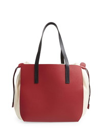 Marni Colorblock Gusset Leather Canvas Tote