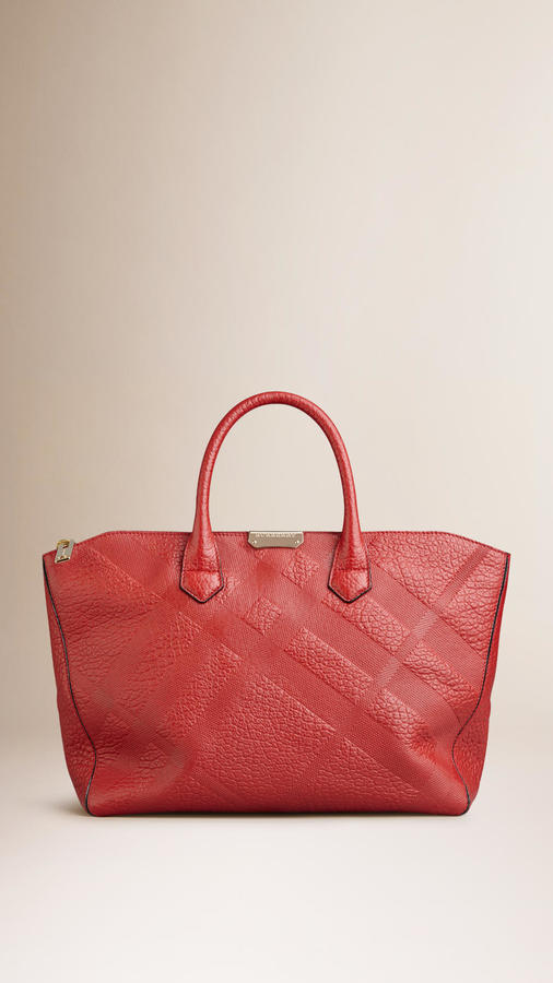 74c93902e2f2 ... Burberry Medium Embossed Check Leather Tote Bag ...