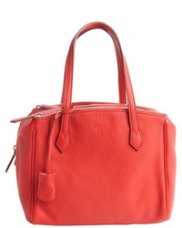 Fendi Red Grained Leather Tri Zip Top Handle Tote