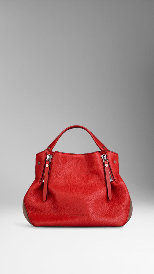 ... Red Leather Tote Bags Burberry Small Check Detail Leather Tote Bag ...