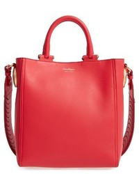 Salvatore Ferragamo Small Paola Leather Tote Red