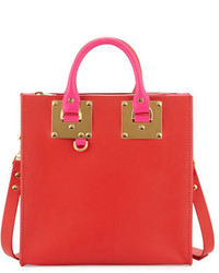 Sophie Hulme Square Bicolor Leather Tote Bag Red