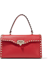 Valentino The Rockstud Leather Tote Red