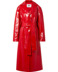 MSGM Faux Glossed Leather Trench Coat