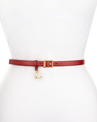 Valentino Skinny Leather V Charm Waist Belt