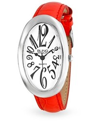 Bling Jewelry Bling Jewelry Red Leather Oval White Dial Watch