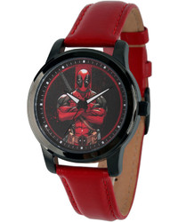 Marvel Deadpool Red Dial Leather Strap Watch