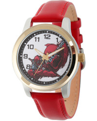 Marvel Deadpool White Dial Red Leather Strap Watch