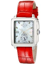 Gv2 By Gevril 9201 Bari Diamond Accented Stainless Steel Watch With Red Leather Band