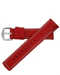 Hirsch 18mm Carbon Fiber Red Sports Leather Watch Band Strap 025920 20