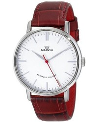 Marvin M125132975 Origin Stainless Steel Automatic Watch With Red Leather Band