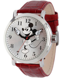 Disney Mickey Mouse Red Leather Strap Vintage Style Watch
