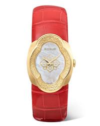 Buccellati Opera 28mm 18 Karat Gold Alligator And Mother Of Pearl Watch