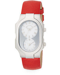 Philip Stein Teslar Signature Stainless Steel Dual Time Red Calf Leather Strap Watch