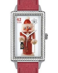 Proenza Schouler The Ps Collection By Arjang And Co Hy 4020s Rd Nutcracker Santa Enamel Dial Red Leather Strap Watch