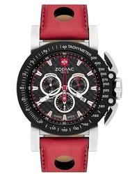 Zodiac Racer Chronograph Leather Strap Watch 47mm