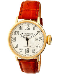 Red Leather White Dial Watch 44mm