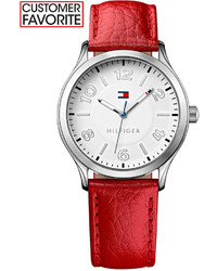 Tommy Hilfiger Red Pebble Leather Strap Watch 38mm 1781461