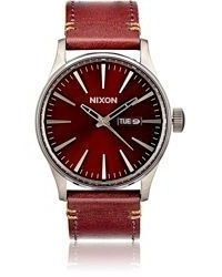 Nixon Sentry Leather Watch Burgundy