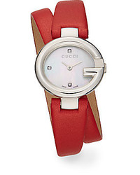 Gucci Sima Stainless Steel Leather Wrap Watch