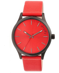 Simplify The 2400 Red Dial Leather Band Watch Sim2405
