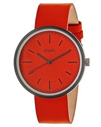 Simplify The 3000 Sand Blasted Dial Leather Strap Watch