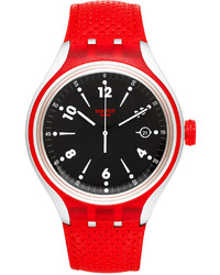 Swatch Unisex Swiss Go Jump Red Perforated Leather Strap Watch 41mm Yes4001