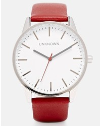 Unknown Burgundy Leather Strap Watch With White Dial