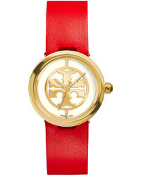 Tory Burch Watches 28mm Reva Leather Strap Watch Redgolden