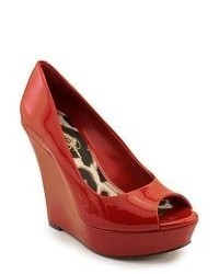 Jessica Simpson Flower Red Patent Leather Wedges Heels Shoes