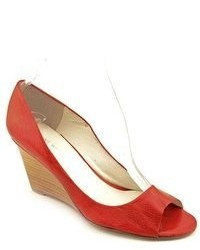 Nine West Peggyfo Red Open Toe Leather Wedges Heels Shoes