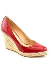 Via Spiga Quip Red Patent Leather Wedges Heels Shoes