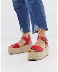New Look Flatform Espadrille Sandal In Red
