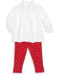 Ralph Lauren Babys Two Piece Lace Yoke Shirt Floral Print Leggings Set
